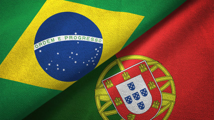 Photo sur Toile Brésil Portugal and Brazil two flags textile cloth fabric texture