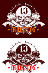 Detailed graphic realistic white human skull with crossed revolvers and rose bud . On black background. Vector icon set.