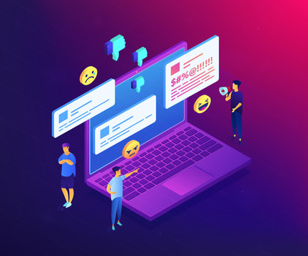 Troll quarreling and upsetting tiny people on internet with dislikes and messages. Internet trolling, digital harassment, internet behaviour concept. Ultraviolet neon vector isometric 3D illustration.