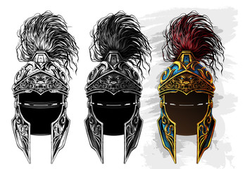 Graphic detailed ancient metal ornate warrior helmet with golden lion face. Isolated on white background. Vector icon set.