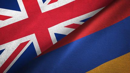 United Kingdom and Armenia two flags textile cloth, fabric texture
