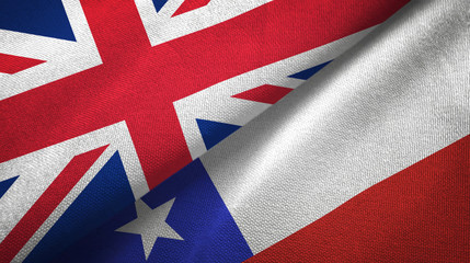 United Kingdom and Chile two flags textile cloth, fabric texture