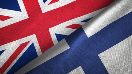 United Kingdom and Finland two flags textile cloth, fabric texture