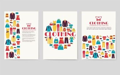Clothes vector brochure cards set. Print art template of flyear, magazines, posters, book cover, banners. Colorful design invitation concept background. Layout shop illustrations modern page