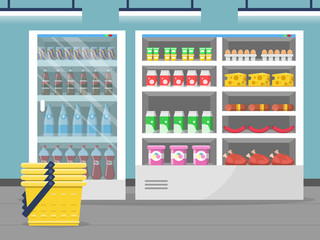 Grocery store showcase. Shop food store inside the supermarket checkout vector background. Illustration of shop and market interior with food