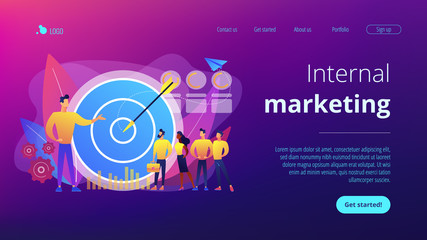 Big target, manager and employees engaged in company goals. Internal marketing, company goals promotion, employee engagement concept. Website vibrant violet landing web page template.