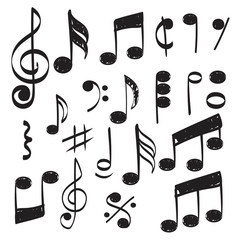 Music note. Doodles sketch musical vector hand drawn pictures isolated. Illustration of musical note symbol, doodle sketch sound and music