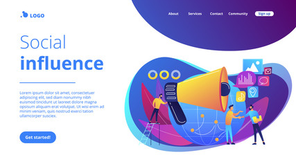 Marketing specialist with loudspeaker influence businessmen and globe. Macromarketing, social influence, global marketing strategy concept. Website vibrant violet landing web page template.