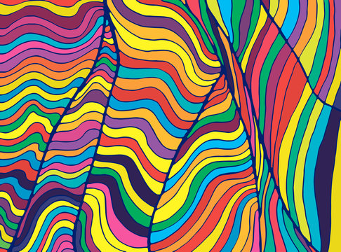 Psychedelic colorful  waves. Fantastic art with decorative texture. Surreal doodle pattern. Rainbow abstract pattern, maze wave of ornaments. Vector hand drawn illustration.