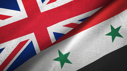United Kingdom and Syria two flags textile cloth, fabric texture