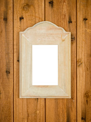 vintage picture frame on rustic wooden wall