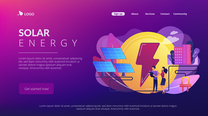 Businessmen use solar energy panels to produce electricity for the city. Solar energy, solar power plant, alternative source of electricity concept. Website vibrant violet landing web page template.