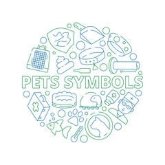Pets symbols. Circle shape with veterinary clinic icons dogs cats fish bones vector thin pictures. Illustration of grooming and vet shop, accessory for veterinary