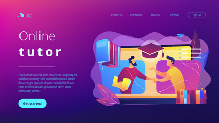 Teacher with books helping student at online lesson on laptop screen. Online tutor, on-demand homework help, english teacher online concept. Website vibrant violet landing web page template.