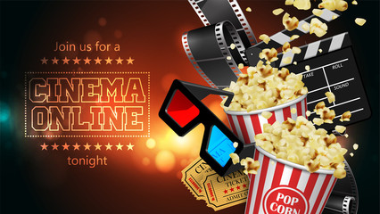 Advertising for the film industry. Film, popcorn, glasses and tickets. 3D vector. High detailed realistic illustration