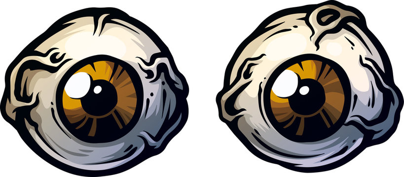 Cartoon crazy monster brown angry eyes. Isolated on white background. Vector icon.