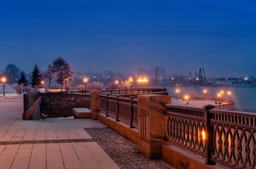 Irkutsk, Russia. Angara River embankments at winter twilight