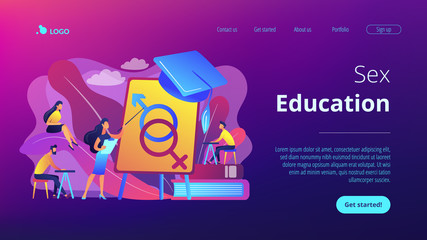 Female teacher at board giving a lesson on sexual education to students. Sex education, sexual health teaching, sex education lesson concept. Website vibrant violet landing web page template.