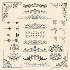 Calligraphy borders corners. Classic vintage ornament victorian old frames vector design elements. Illustration of victorian border and vintage filigree decoration