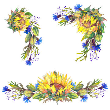 Set of wreaths with sunflowers and blue cornflowers. Watercolor illustration. Isolated elements for design.