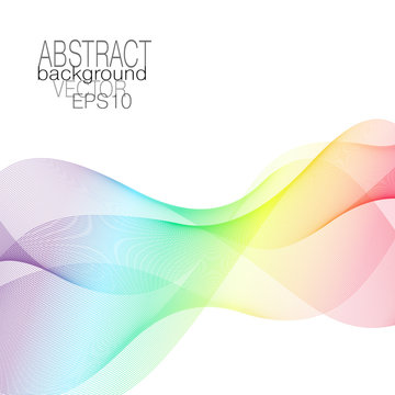 Rainbow waveform. Line art pattern in spectral hues, veil, scarf imitation. Elegant shiny background. Vector waving multicolored design element. Square abstract modern template for creative concepts