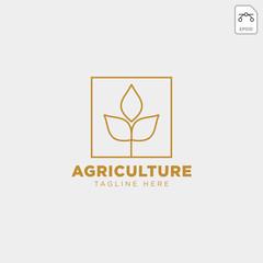 gold agriculture farm line badge vintage logo template vector illustration