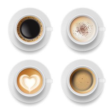 Coffee cup top. Hot milk espresso latte breakfast tea time vector realistic template. Illustration of coffee milk drink to breakfast morning