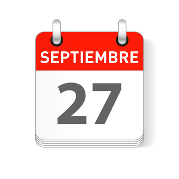 Septiembre 27, September 27 date visible on a page a day organizer calendar in spanish Language