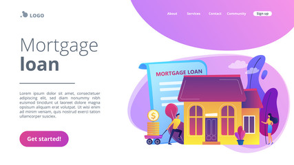 Borrower making mortgage payment for real estate and mortgage loan agreement. Mortgage loan, home bank credit, real estate services concept. Website vibrant violet landing web page template.