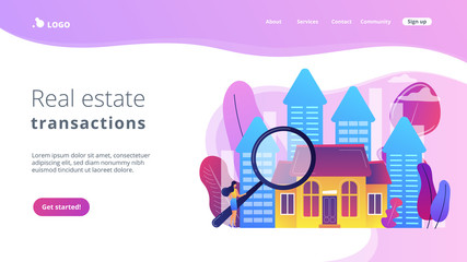 Real estate customer with magnifier looking for property for sale. Real estate market, real estate transactions, property market concept. Website vibrant violet landing web page template.