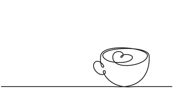 Сup and heart. Coffee latte, tea.  Drawing by a continuous line