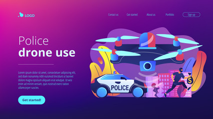 Police car and drone tracking thieve in mask with money and crime scene. Law enforcement drones, police drone use, smart city IoT tools concept. Website vibrant violet landing web page template.