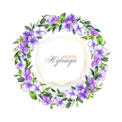 Floral vector background with hydrangea for wedding invitation, greeting template in violet and lilac colors. Round frame wreath with beautiful flowers, composition of hydrangea and leaves.