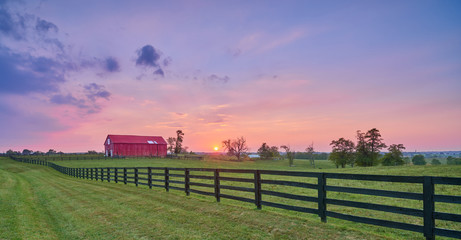 Red Barn at Sunset Wall mural