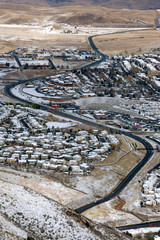Panoramic view of Golden, Colorado with surrounding mountains, USA