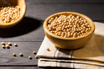 Healthy Soy bean in a boul on black background