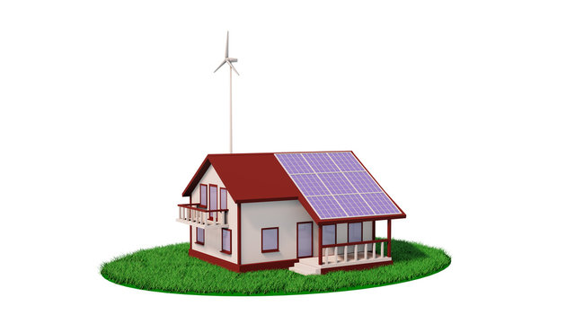 Eco house wind turbine and solar panel 3d render