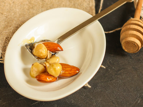 honey and nuts grain, tasty and healthy dessert. top food background. copy space