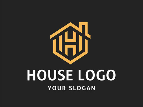 House Abstract Logo design vector template Linear style.