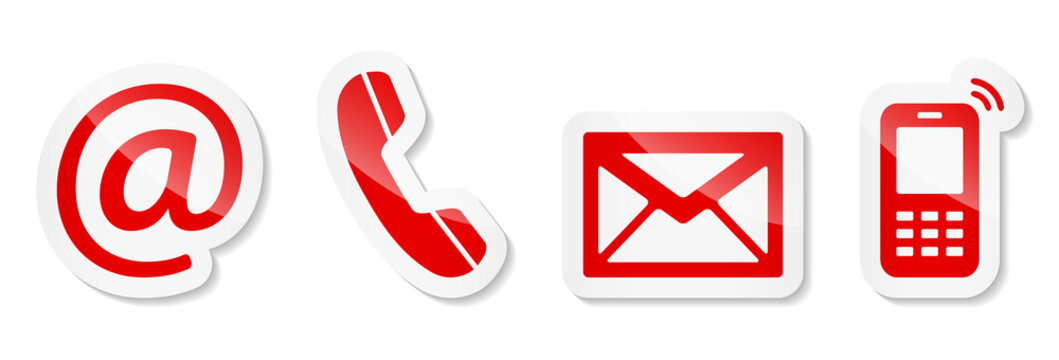 Contact Us – Red sticker icons on white background