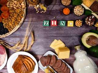 Zinc. Vitamins and minerals foods with text Zinc