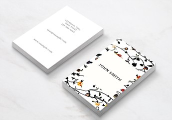 Business Card Layout with Floral Illustrations
