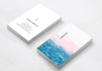 Business Card Layout with Image of the Ocean