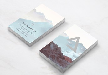 Business Card Layout with Mountains and Clouds