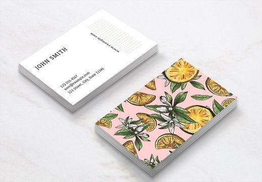 Business Card Layout with Lemon Illustrations