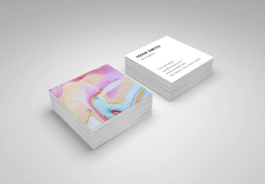 Business Card Layout with Colorful Paint Photo