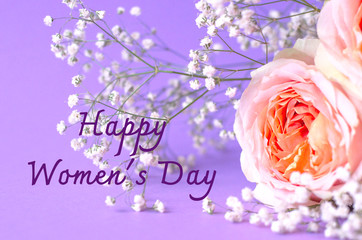 Photo greeting card with roses Happy Women's Day.