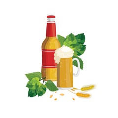 Beer bottle and glass cup with green hop with leaves and cereal in cartoon style.