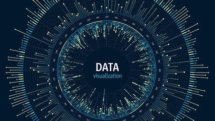Big data visualization concept. Infographics digital design. Data analysis representation. Technology and science background. Abstract data diagram.
