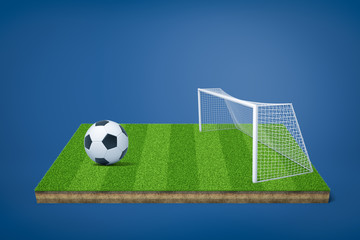 3d rendering of football field model with football ball and gate on blue background